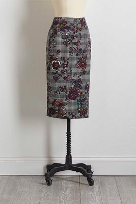floral houndstooth pencil skirt