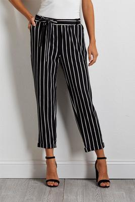 gauze stripe ankle pants