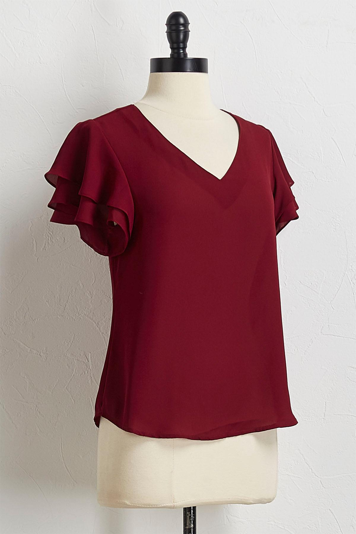 Autumn Ruffled Sleeve Top