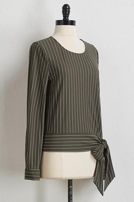 olive stripe tie waist top