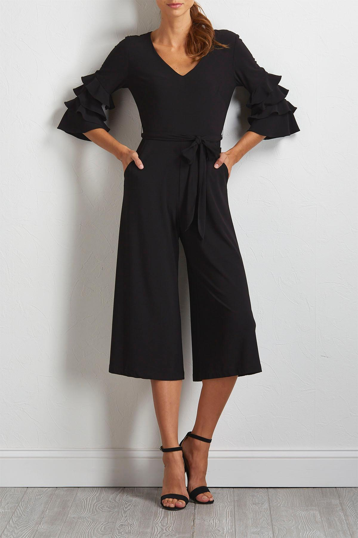 Cropped Tiered Sleeve Jumpsuit