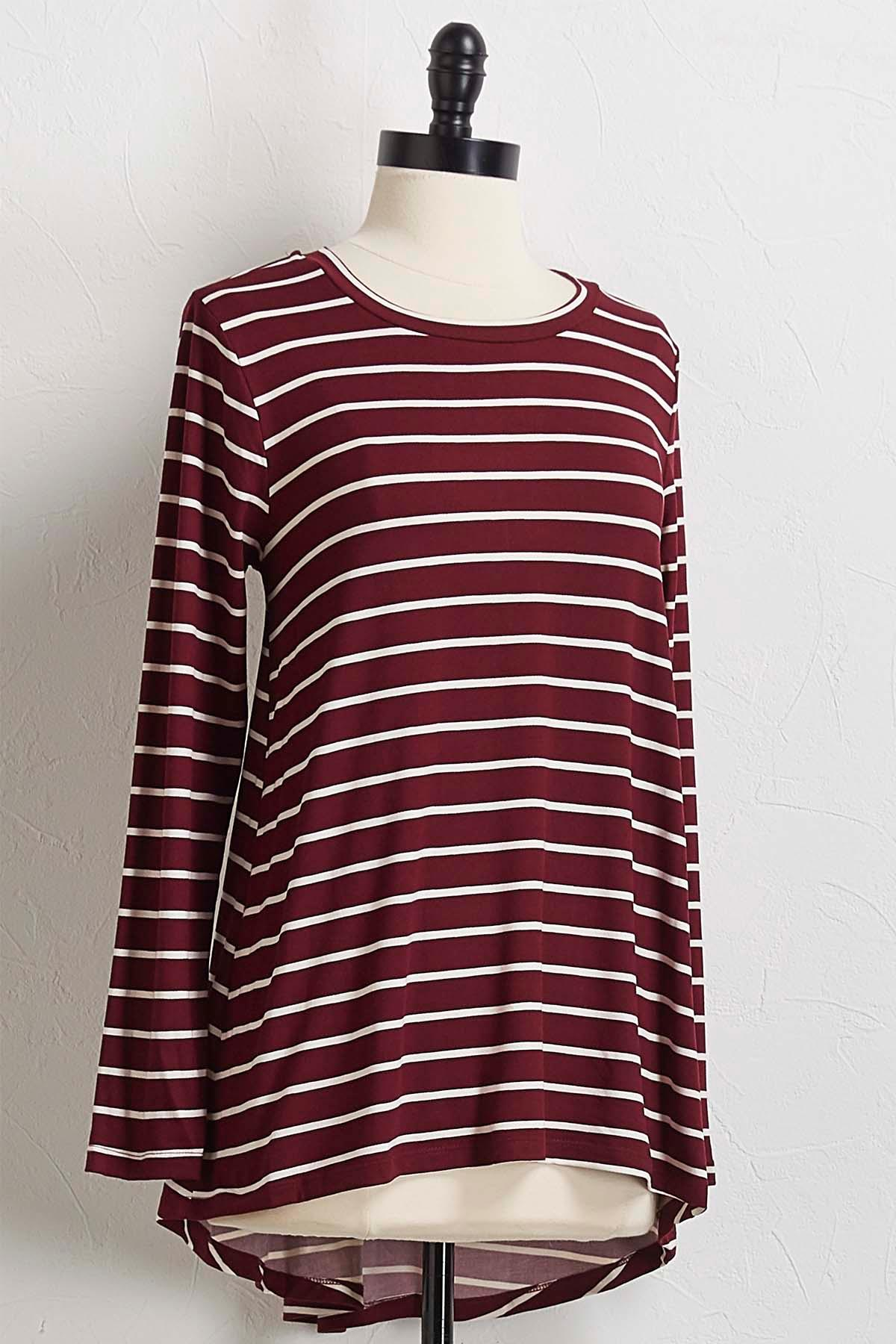 Striped High- Low Tunic