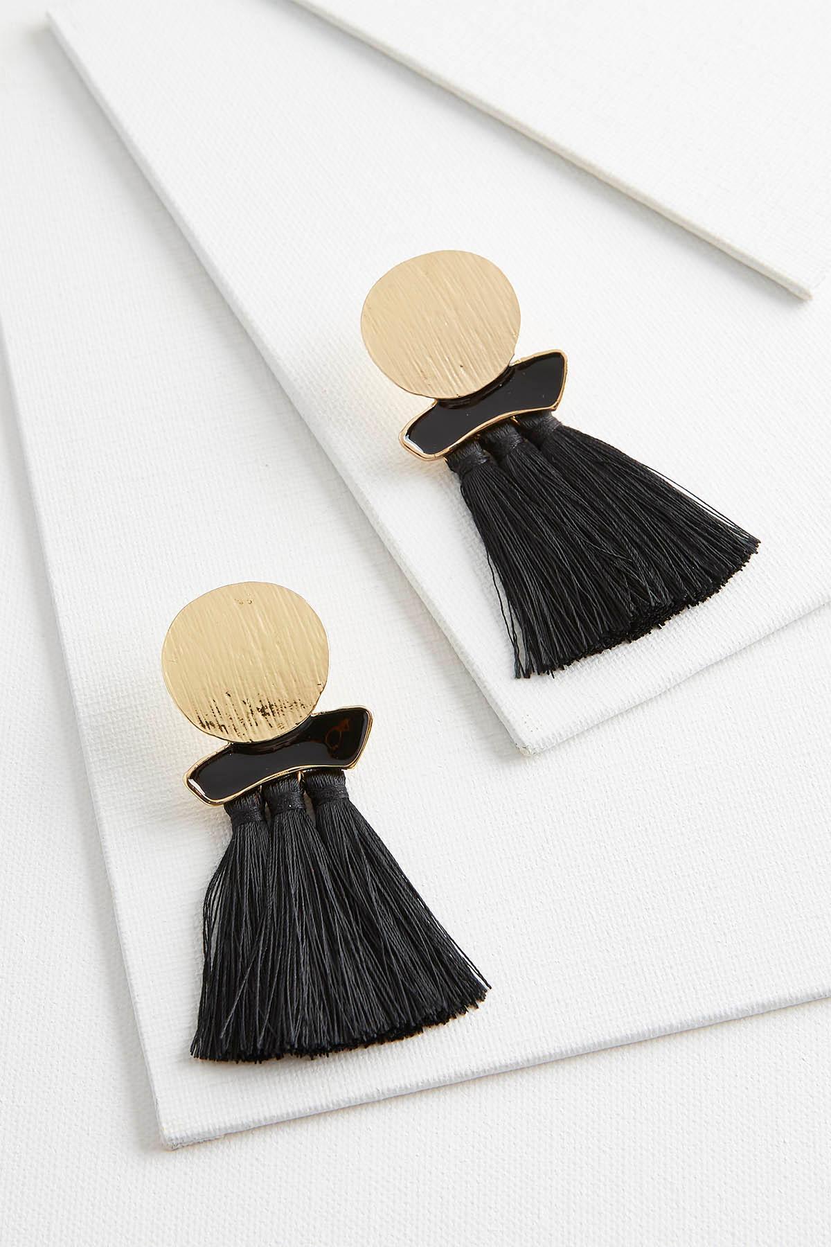 Hammered Circle Tassel Earrings
