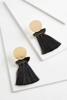 hammered circle tassel earrings
