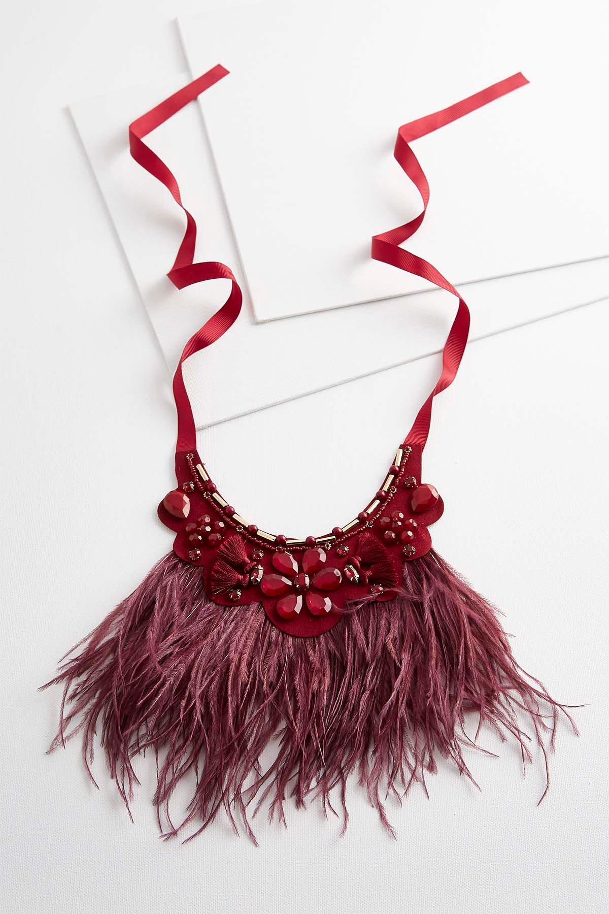 Flower Feather Bib Necklace