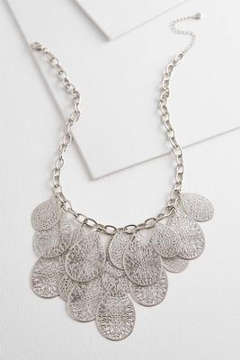 metal filigree bib necklace