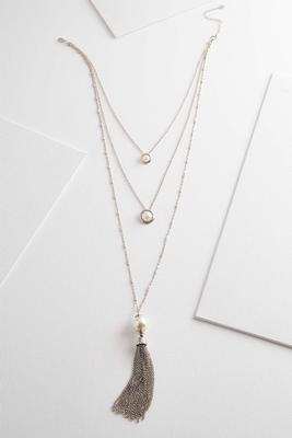 layered tasseled pendant necklace