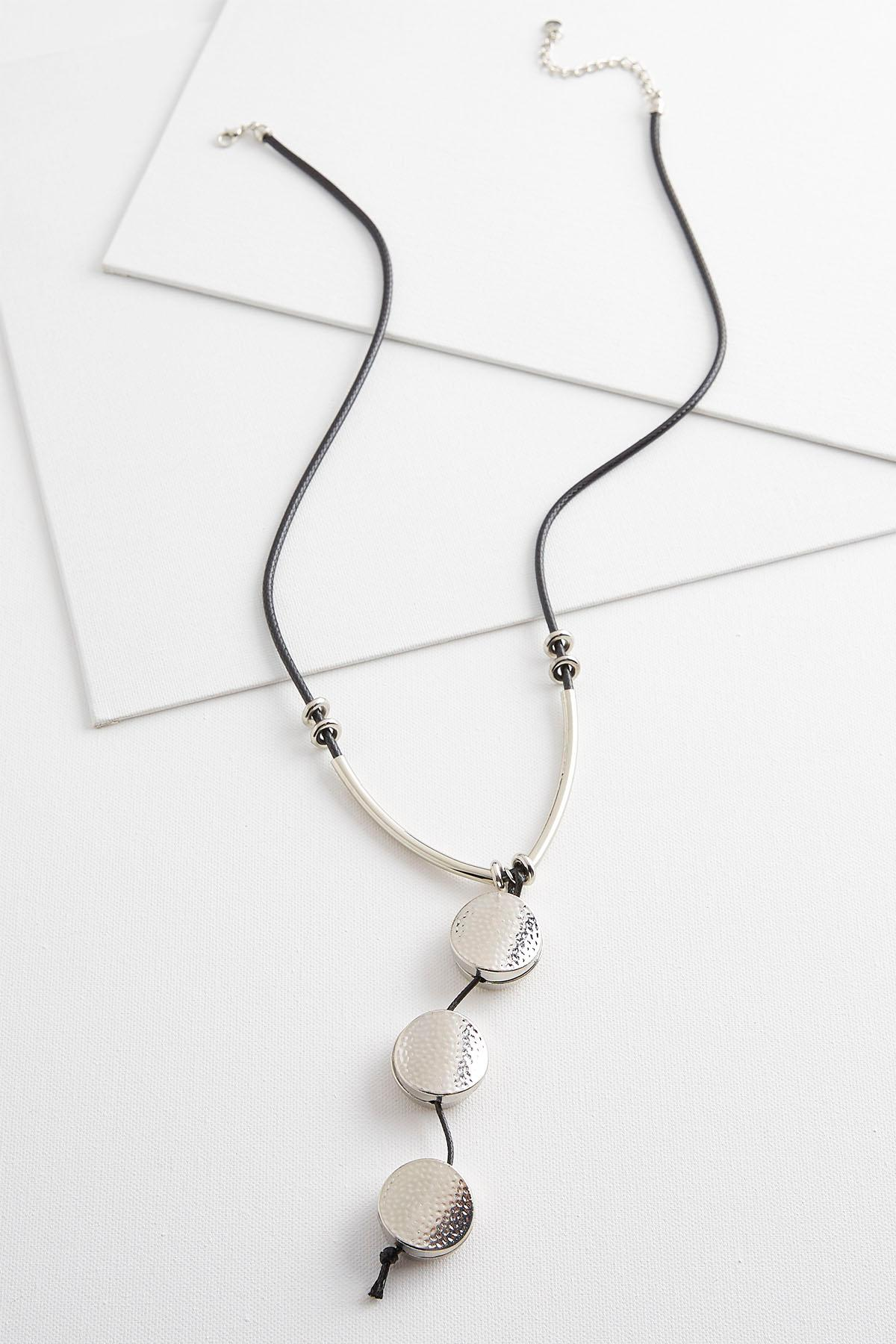 Hammered Bead Cord Necklace