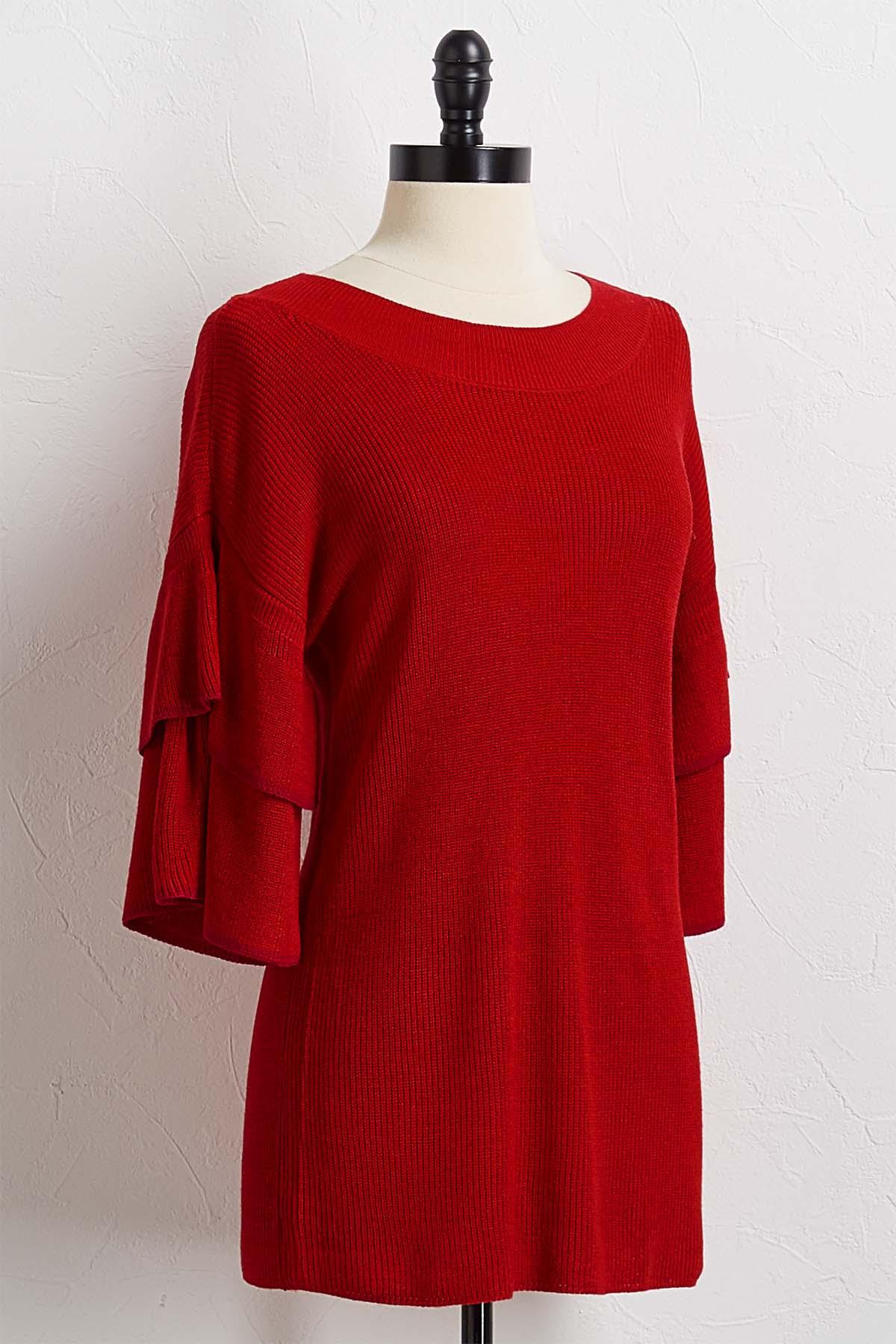 Tiered Sleeve Pullover Sweater