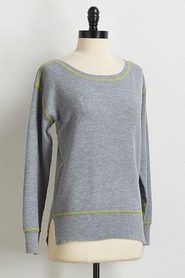 neon stitch thermal top