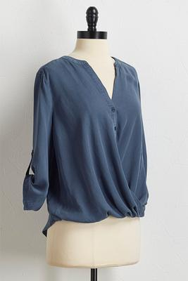 chambray twisted hem top