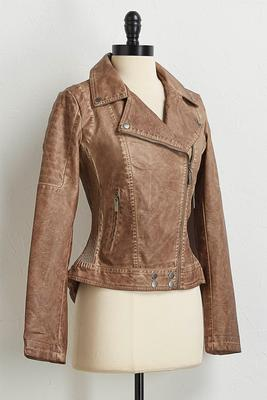 cobblestone faux leather jacket