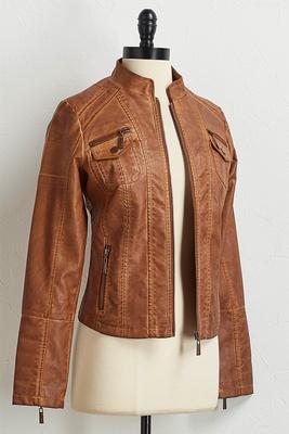 zipper sleeve faux leather jacket