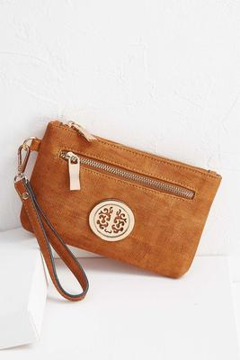 distressed faux leather wristlet