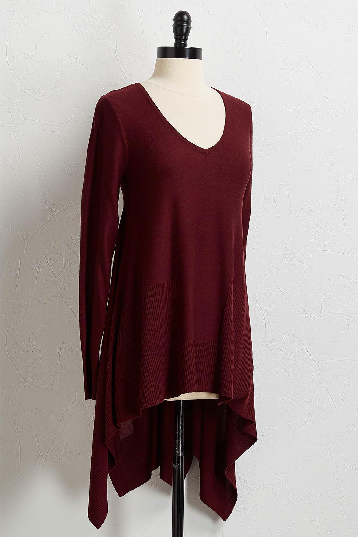 Solid Hanky Hem Tunic Sweater