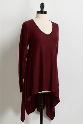 solid hanky hem tunic sweater