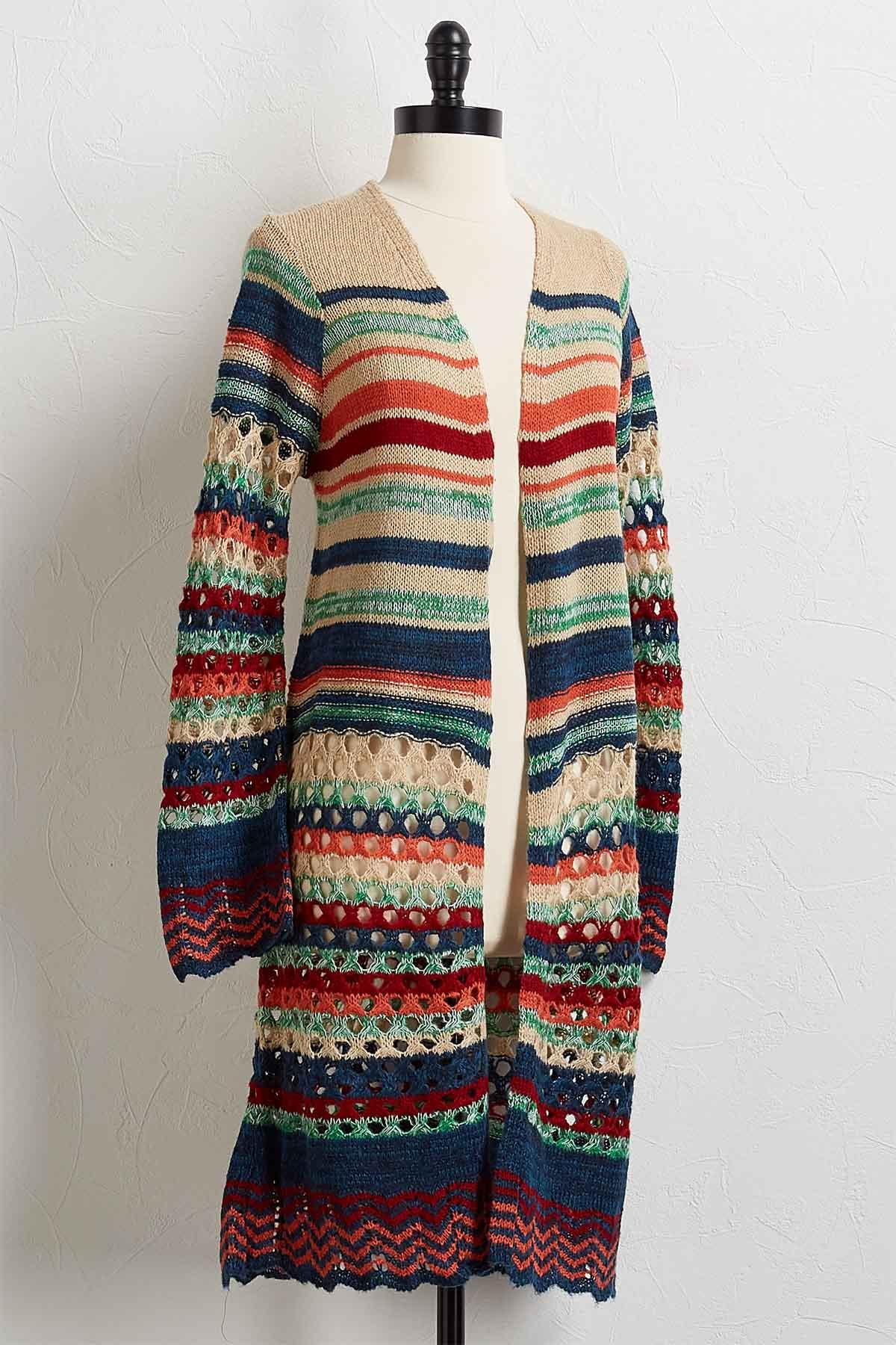 Striped Cardigan Duster