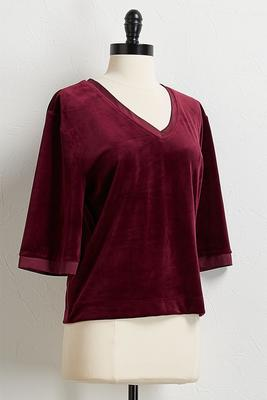 velour satin trim top