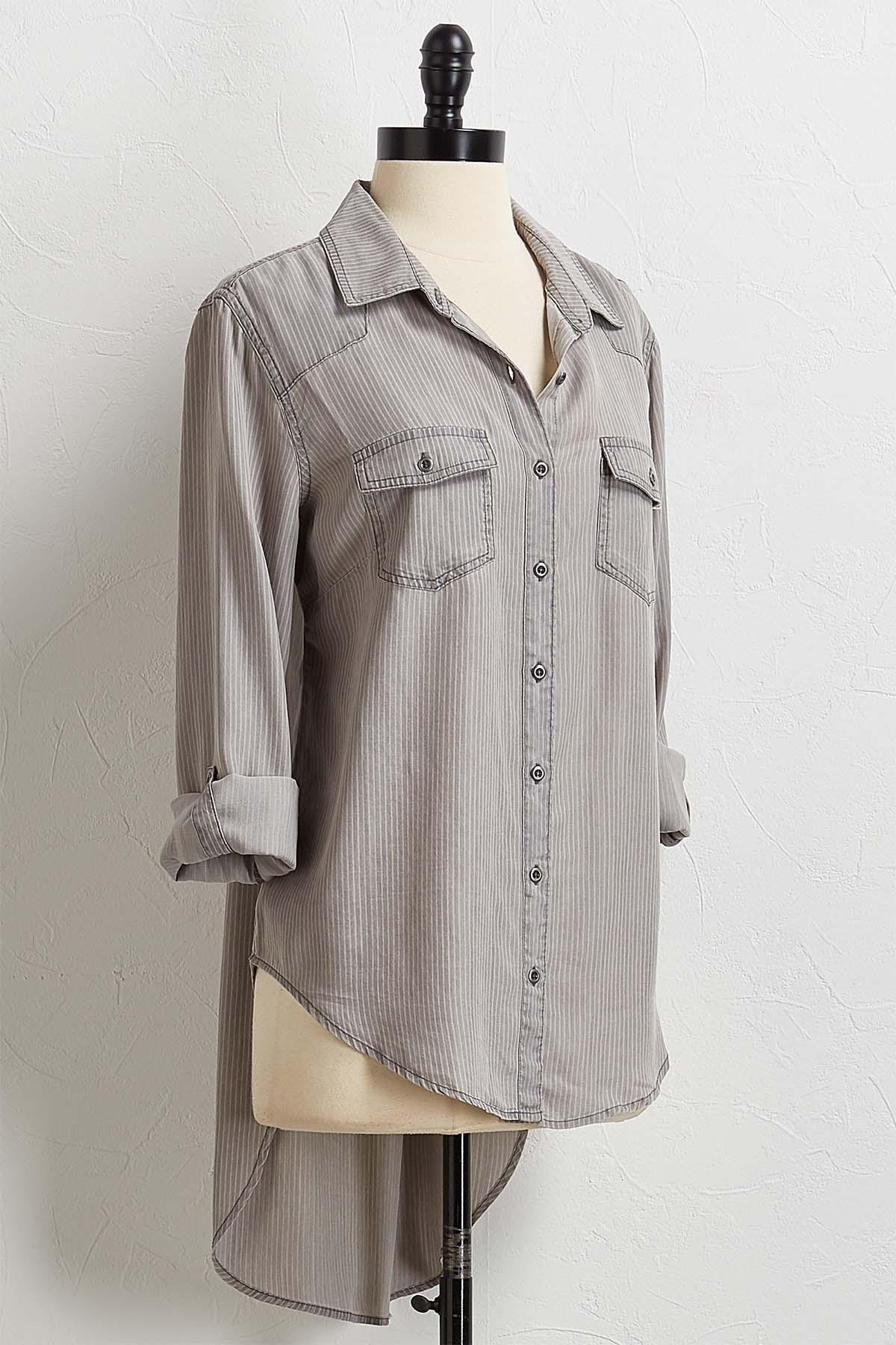 Striped Chambray High- Low Top
