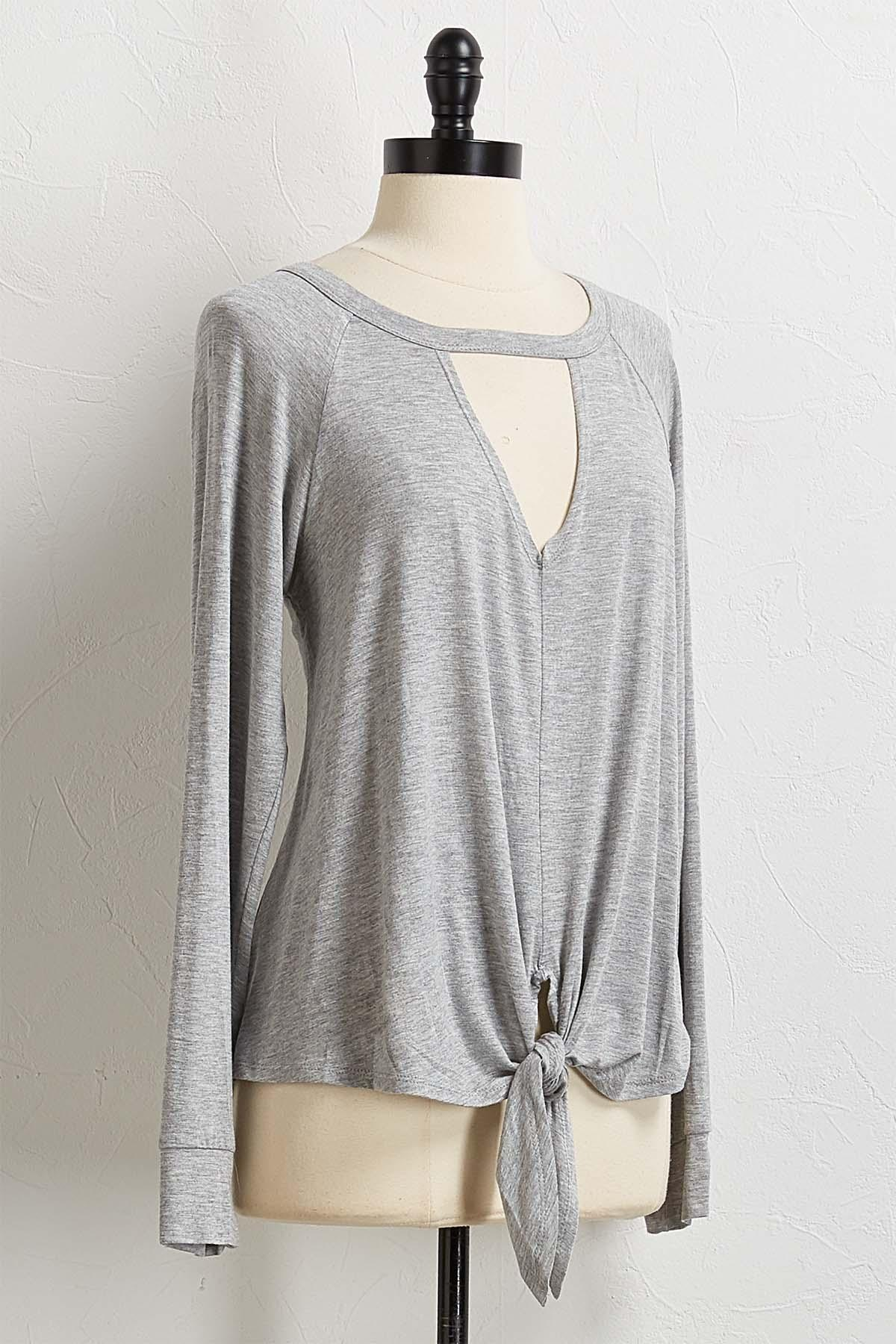 Keyhole Tie Front Top