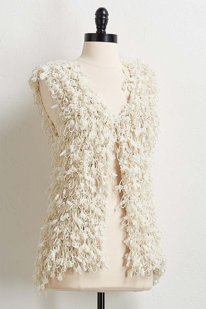 Fuzzy Fringe Sweater Vest