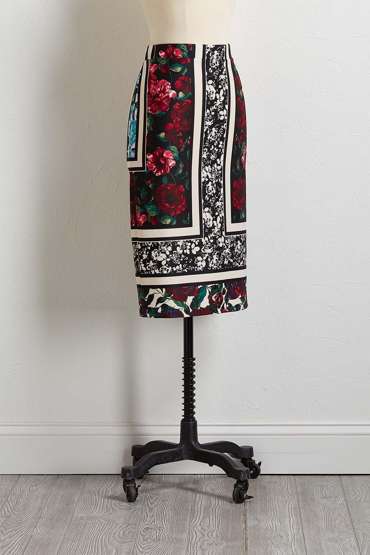 Framed Floral Pencil Skirt