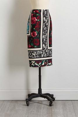 framed floral pencil skirt