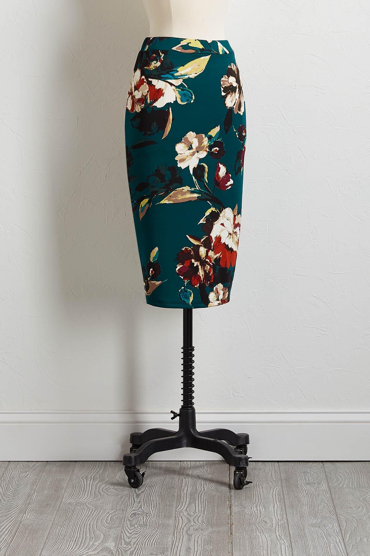Green Floral Pencil Skirt