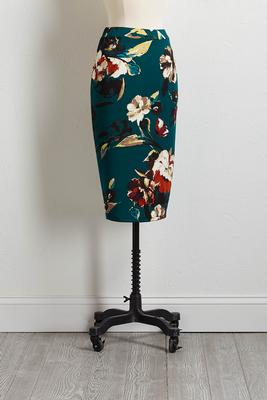 green floral pencil skirt