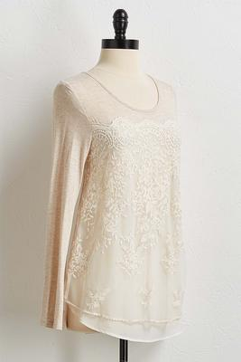 lace slub knit top