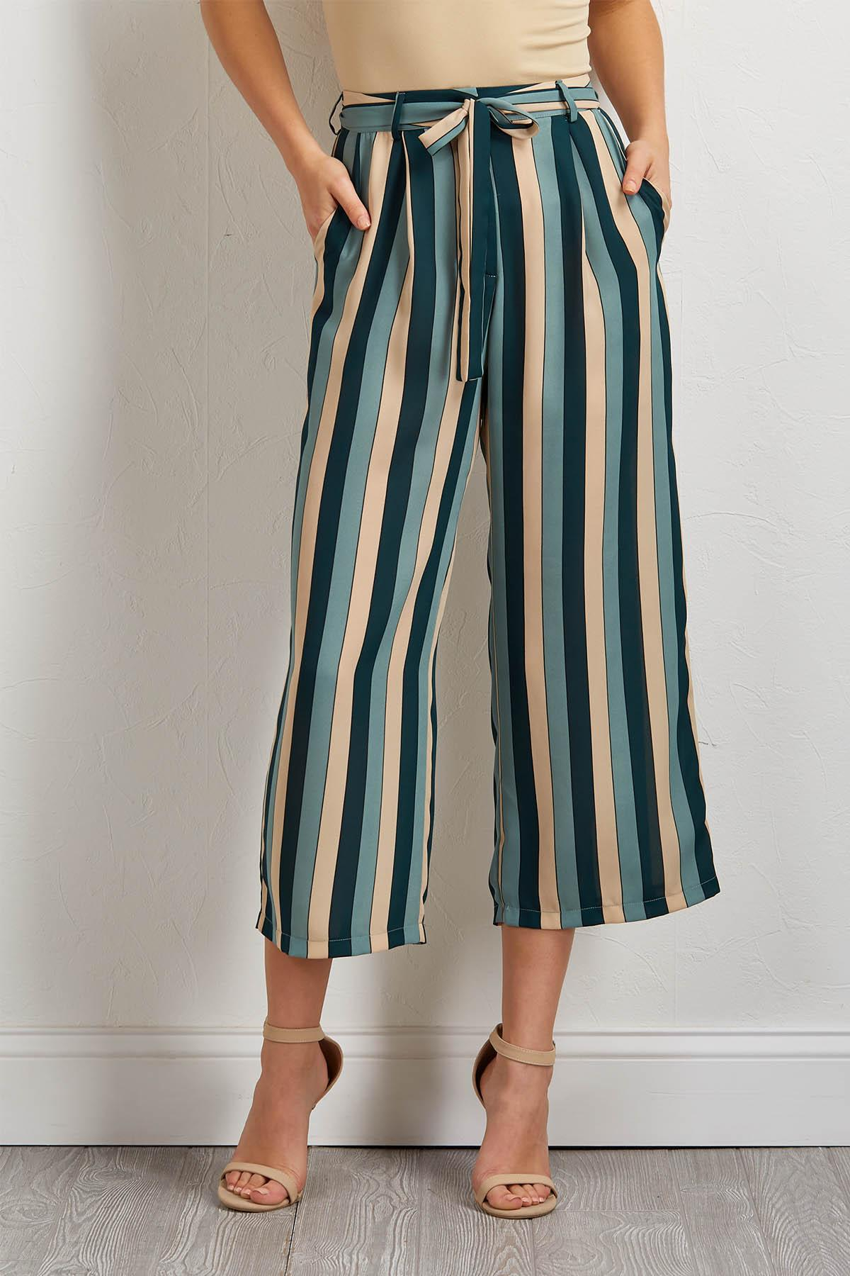 Teal Stripe Wide Leg Pants