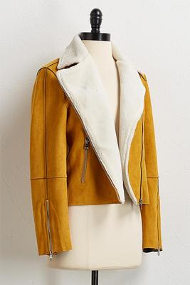 faux suede and fur moto jacket
