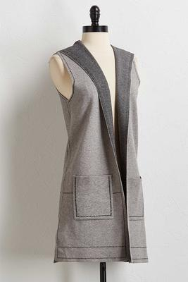 window pane hoodie vest