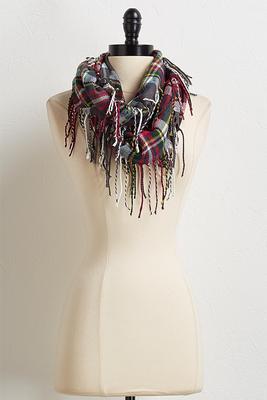 plaid fringe infinity scarf