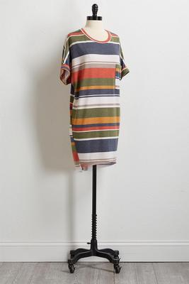 autumn stripe tee shirt dress