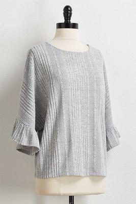 gray flutter sleeve top