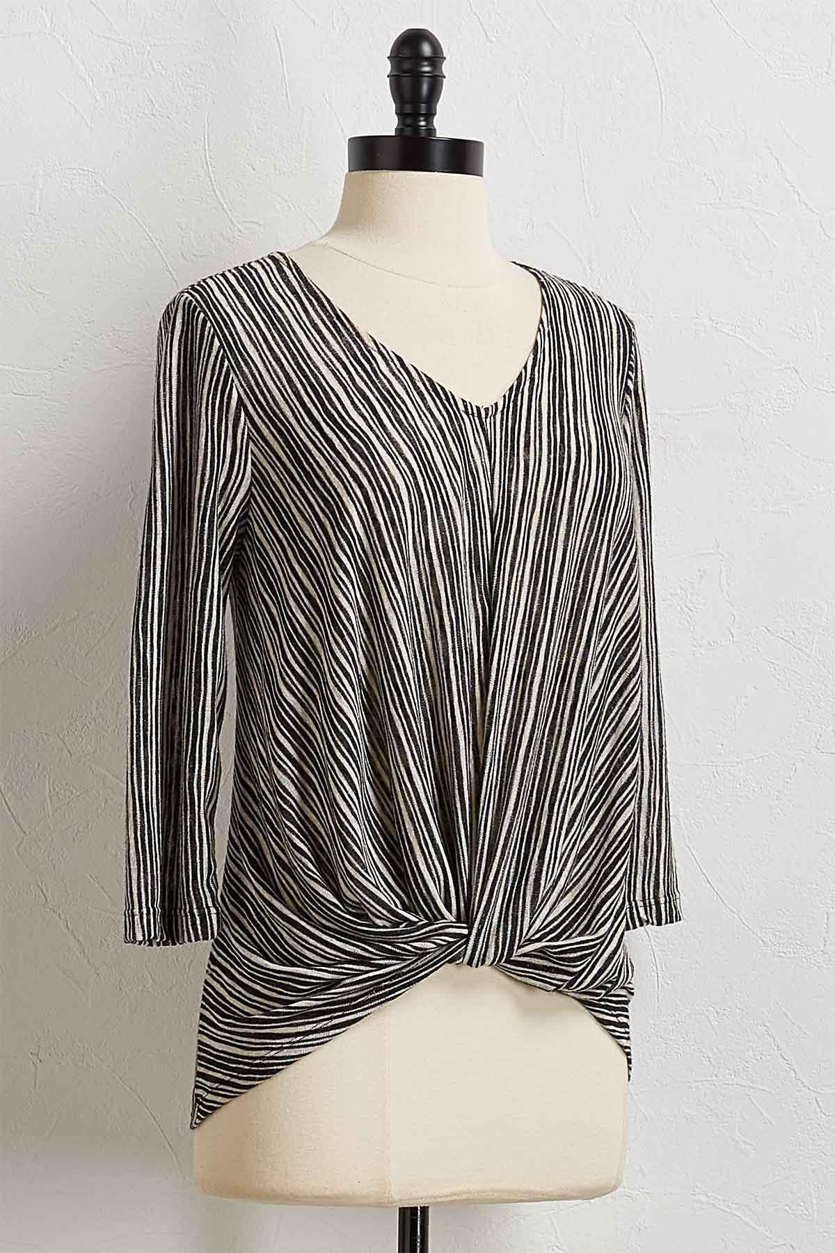 Stripe Twist Front Top