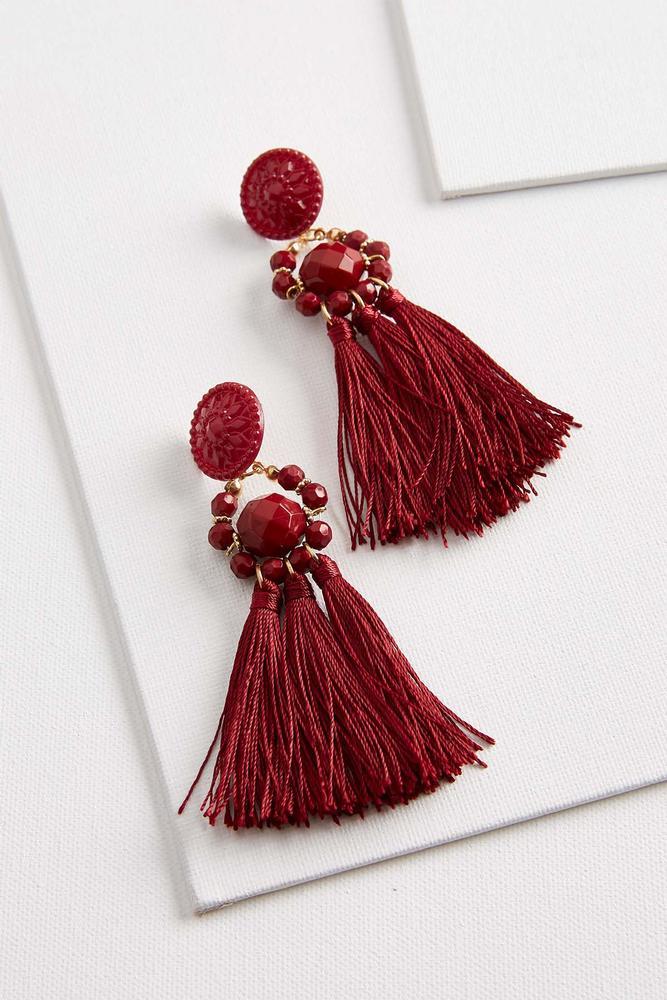 Tasseled Floral Medallion Earrings