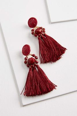 tasseled floral medallion earrings