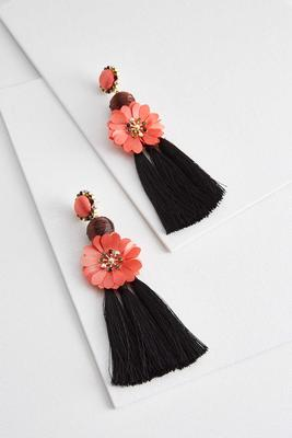 tasseled fabric flower earrings