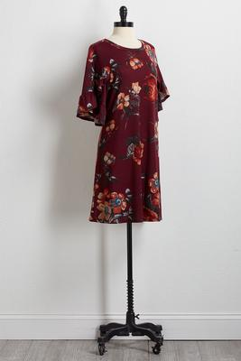 wine floral shift dress