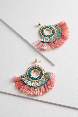 rose fringe circle earrings