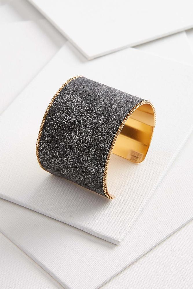 Metallic Faux Leather Cuff