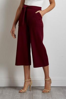 cropped textured tie waist pants