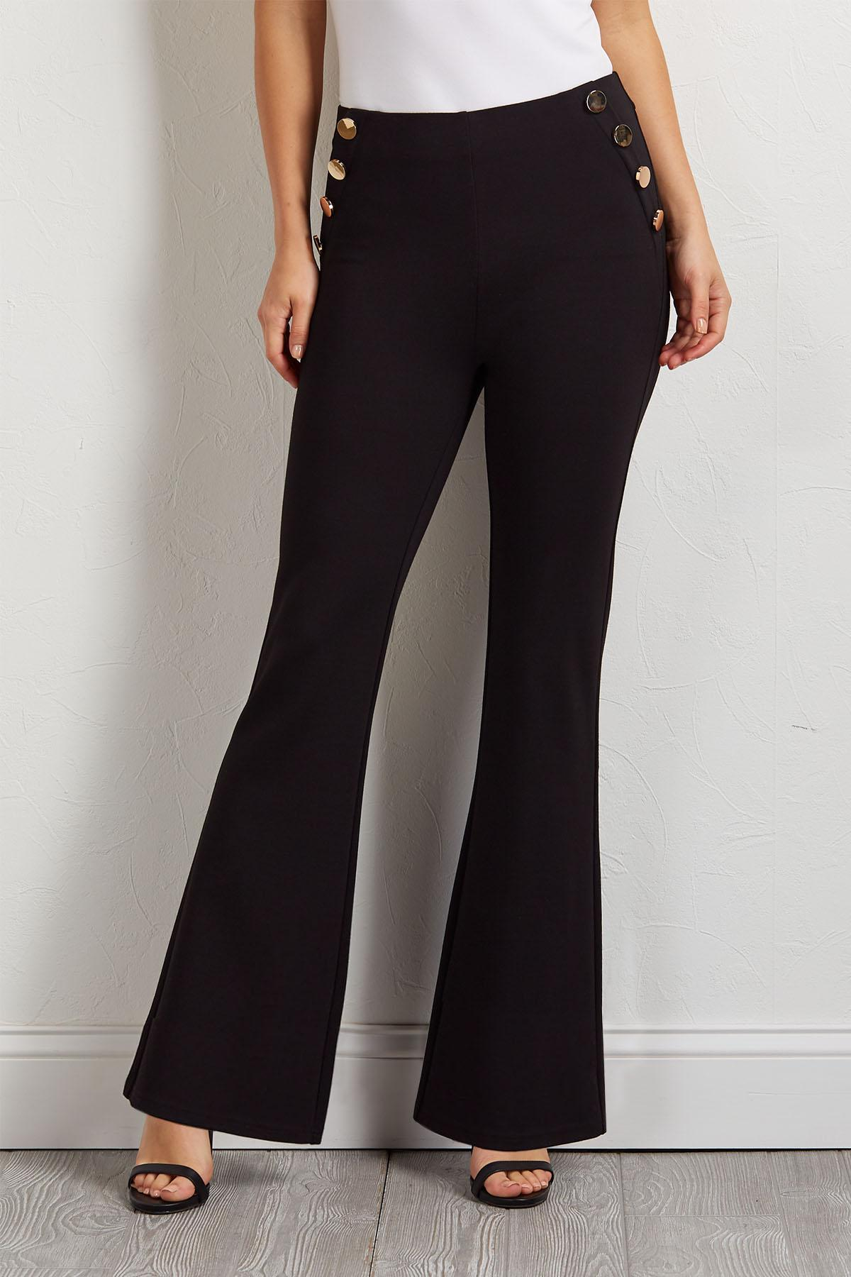 Gold Button Flare Pants