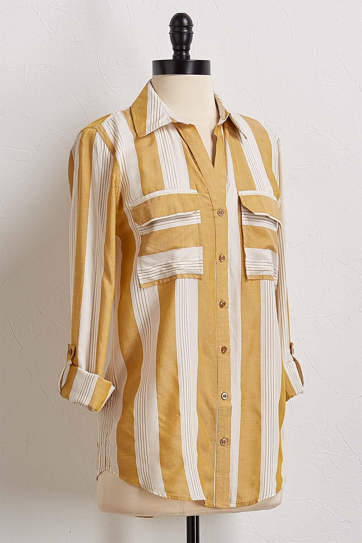 Golden Stripe Button Down Shirt