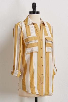golden stripe button down shirt