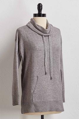 drawstring cowl neck hoodie