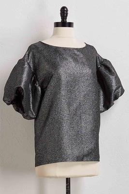metallic puff sleeve top