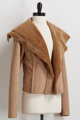 faux fur and suede jacket